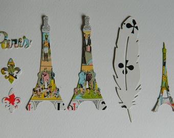 3 Tour Eiffel dies cut & 1 feather ; 2 fleurs de  Lys- antique Tarot cards - 1  word Paris - 7  Die Cut  Papers Tarot cards