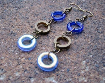 Eco-Friendly Dangle Earrings - Blue Me Away - Trio of Recycled Vintage Glass and Brass Hoop Beads
