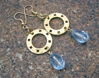 Eco-Friendly Dangle Earrings - And All That Jazz - Recycled Vintage Hammered Goldtone Metal Disks & Pale Blue Teardrop Shaped Facetted Beads