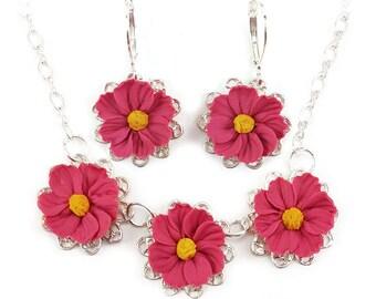 Cosmos Jewelry Set - Trio Cosmos Jewelry, Cosmos Flower Wedding Jewelry, Pink Cosmos, Pink Flower Jewelry, Pink Cosmos