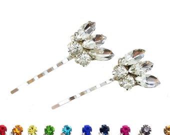 Rhinestone Wedding Hair Pins - Vintage Style Bridal Hair Pins, Art Deco Style Crystal Bobby Pins