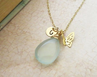 ON SALE Personalized Butterfly Necklace, Stamped Initial and Gemstone of Choice, Gold Filled Charm Necklace Customized Gift for Bridesmaids