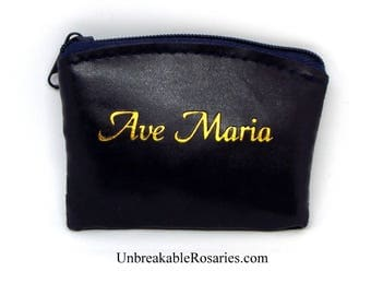 Ave Maria Navy Blue and Gold Zippered Rosary Case Pouch