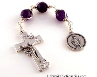 Miraculous Medal Amethyst Jade Three Hail Mary Rosary Chaplet w Italian Lily Crucifix by Unbreakable Rosaries