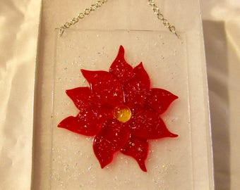 Poinsettia Sun Catcher - Christmas Sun Catchers - Holiday Decor - Dichroic Poinsettia - Holiday Sun Catchers - Hostess Gifts - Holiday Gifts