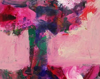 """Floral #10 - Abstract Painting - By Metro the Painting Racehorse and Ron Krajewski 11x14"""""""