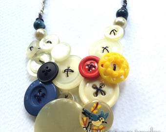 Long Vintage Buttons Statement Necklace with Blue Bird Button