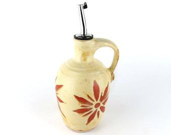Olive Oil Bottle - 12 oz. - Olive Oil Dispenser - Oil Cruet - Creamy Yellow with Terracotta Sunburst