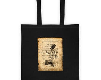 The Raven Distressed Vintage Book Page Halloween Tote bag