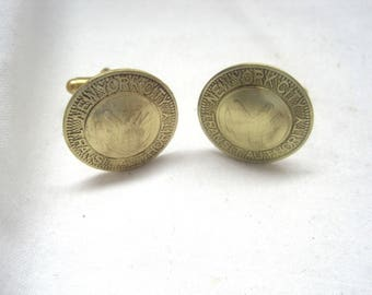 Vintage NY solid brass subway token cuff links-no cut out