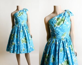 Vintage 1950s Dress - One Shoulder Aqua Blue Floral Watercolor Dress - Olive Green - Cotton Sundress - Bow Shoulder - XS