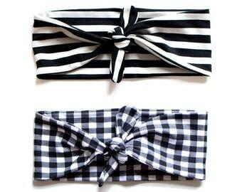 SALE SEE DESCRIPTION Tie Up Headscarf Black & White Gingham // Tie Up Headscarf Black and Stone Stripe