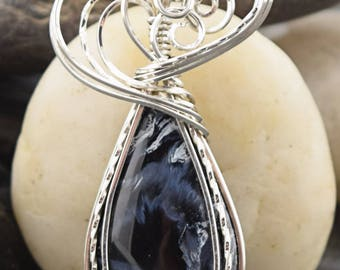 Sterling Silver Wire Wrapped Blue Pietersite Pendant