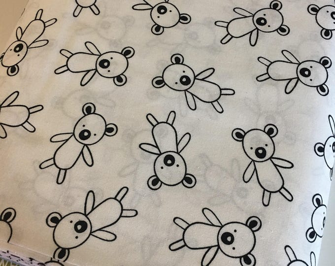 Penned Pals fabric, Black and White Nursery, Black White fabric, Bears in Black, Choose your cut