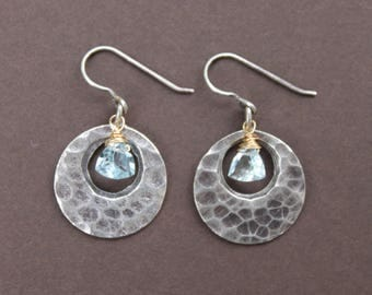 Hammered Thai Silver Loop Trillion Cut Swiss Blue Topaz Briolette Oxidized Sterling Silver Dangle Earrings