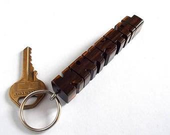 KRYSTAL - Sample Name Keychain in Ebony Wood