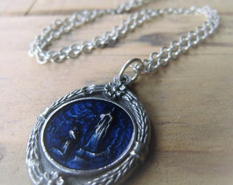 Our Lady of Lourdes Pendant Necklace Blessed Virgin Mary Medal Antique Silver Religious Pendant Blue Gratto Pendant Item No. 08994633