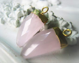 Rose Quartz Pendant Dagger Pair Tooth Pink Pendant Birthstone Pendant Item No. 4656