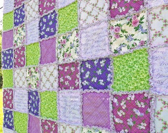Rag Quilt - Lap Quilt - Inspirational Words - Purple and Green Quilt - Purple Flowers and Polka Dots - Floral Rag Quilt