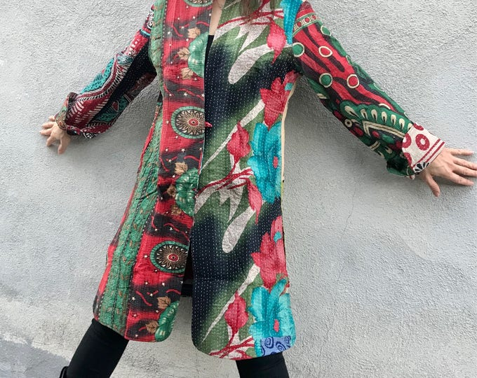 Wild polka dots mixed patchwork kantha coat