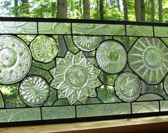 stained glass Vintage large Clear Collage Plate panel custom available
