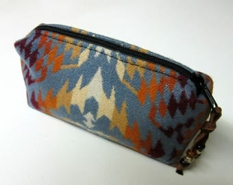 Wool Zippered Pouch Coin Purse Change Purse Cosmetic Bag Accessory Organizer Southwest Print Blanket Wool