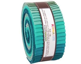"Robert Kaufman Kona Cotton Solids MIDNIGHT OASIS Roll Up 2.5"" Precut Fabric Quilting Cotton Strips Jelly RU-442-40"
