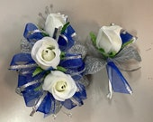 Royal Blue and White Rose Corsage and Boutonniere Set (artificial)