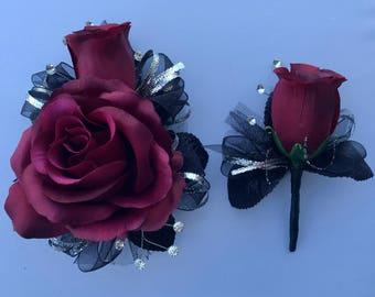 Burgundy Red Rose Corsage & Boutonnière Set (Artificial Flowers)