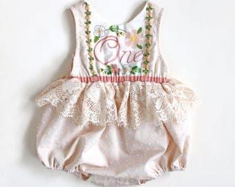 Baby Girl's 1st Birthday Outfit, Birthday Romper, 1st Birthday Romper, Baby's Birthday, 1st Birthday Ideas, Blush Cream Romper, Baby Romper