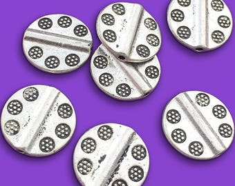 7 Flat Floral Coin Beads, Antique Silver Tone, Baule Style, About 13mm x 13mm with a 1mm hole - TS201R