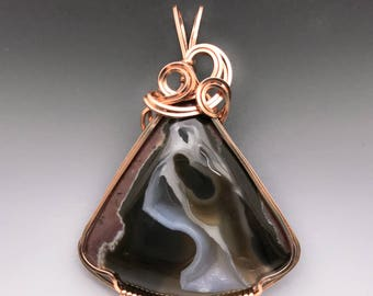 Black Rock Desert Thunderegg Agate 14k Pink Rose Gold-Filled Wire Wrapped Pendant - Ready to Ship!