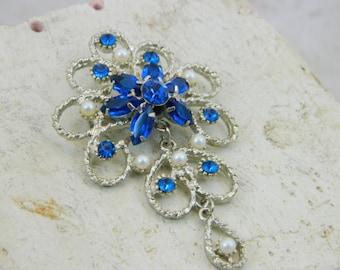 Sale--Blue Flower With Dangle ---Vintage Brooch---Sale