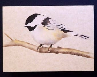 Note Card - Hand Stenciled - Chickadee - Bird Painting - Blank Greeting Card - Notecard - Bird Stencil - Painting of Chickadee - Bird Art