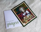 Handmade Day Card: Christian,  thank you, clergy, priest, vintage art, green, complete card, handmade, balsampondsdesign