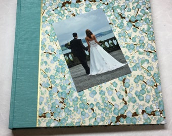 Wedding Album-Photo Booth Album, Custom wedding album, Bridal Memory Book, From Groom to Bride, Bereavement Gift Aqua Cherry Blossom