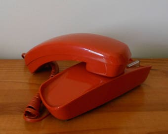 Vintage 70s Orange Push Button Trimline Phone, 1970s Wall Mount Desk Top Telephone, Made By Western Electric