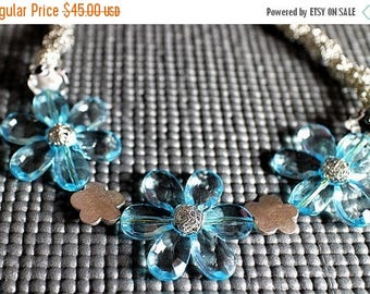 75% OFF CLEARANCE SALE Blue Flower Necklace