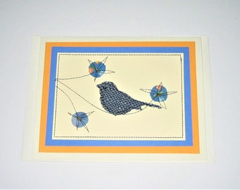 Greeting Card Mixed Media Flowers Bird