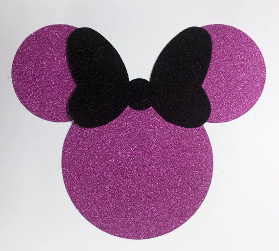 Disney Minnie Mouse Pink Glitter Die Cut Sticker with Black Glitter Bow - 10 Pieces - Scrapbook Art Craft Party Invitations Decorations