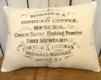 Country Farmhouse Pillow Coffee stained look Vintage coffee typography feed/ flour sack pillow Prairie Prim charm ECS RDT