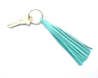 Silver Key Fob, Leather Tassel Key Ring, Blue Leather Key Fob, Tassel Key Holder, Women's Gifts, Aqua Leather Tassel, Handmade Keychain