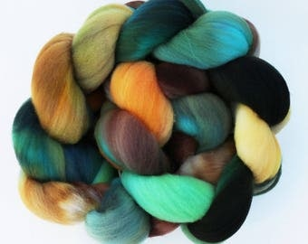 """Targhee Wool Combed Top Hand-dyed Spinning Fiber, 4 oz, """"Cabana"""" Teal, Aqua, Yellow, and Brown"""