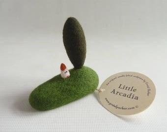 Tiny needle felted landscape, miniature, 'Little Arcadia' by Gretel Parker, needle felt art, tiny house