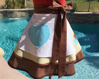 Cinderella Work Half Apron with Pettiocat, White Overlay with pocket, Womens Misses and Plus Sizes, Cosplay Pin Up Apron, Party Costume