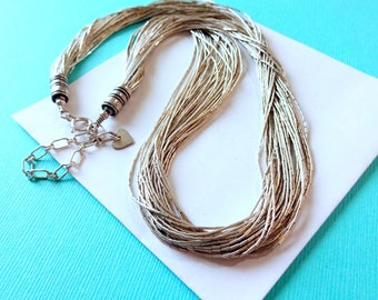 Navajo 30 Strand Liquid Sterling Silver Necklace 17 Inches with Extender
