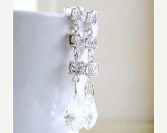 Summer Sale Bridal Earrings CZ Swarovski Crystal Silver Post Stud CNE13
