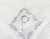 Vintage Initial F Handkerchief for a Gentlema with a White Embroidery Hankie Handkerchief