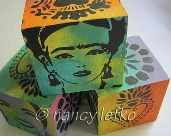 frida and friends photo cubes set - ORIGINAL MIXED MEDIA by Nancy Lefko