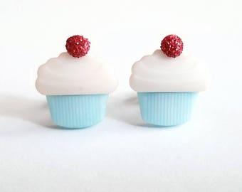 Cupcake Earrings, Kawaii Stud Earrings, Blue Cupcakes, Cherry on Top, Sweet Treats, Food Jewelry